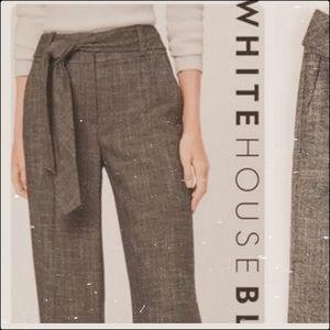 WHBM dark grey wide leg tie waist crop trousers